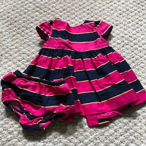 Navy and pink stripe dress